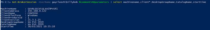 Screenshot: Login information of a certain user
