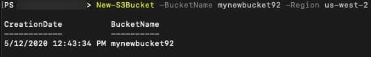 Screenshot: the new S3 bucket