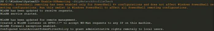 Screenshot: WinRM PowerShell Remoting in PowerShell Core