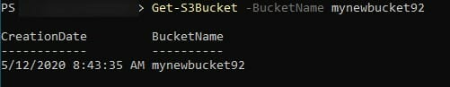 Screenshot: Bucket properties in PowerShell