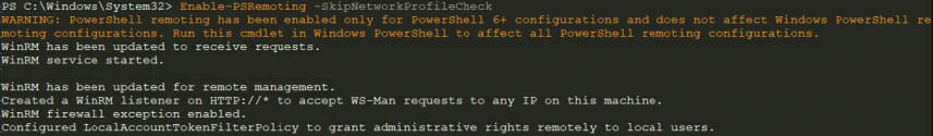 Screenshot: Output of the Enable-PSRemoting cmdlet in PowerShell 7