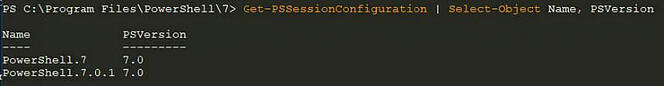 Screenshot: List of endpoint names registered for PowerShell remoting in PowerShell 7