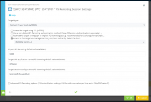 """Screenshot Admin App: The Tab """"PS Remoting Session Settings"""" is open, the option """"Access to this target via management or jump host indirectly"""" is selected"""