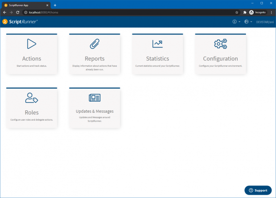 Screenshot: Entry page for administrators in the new ScriptRunner portal