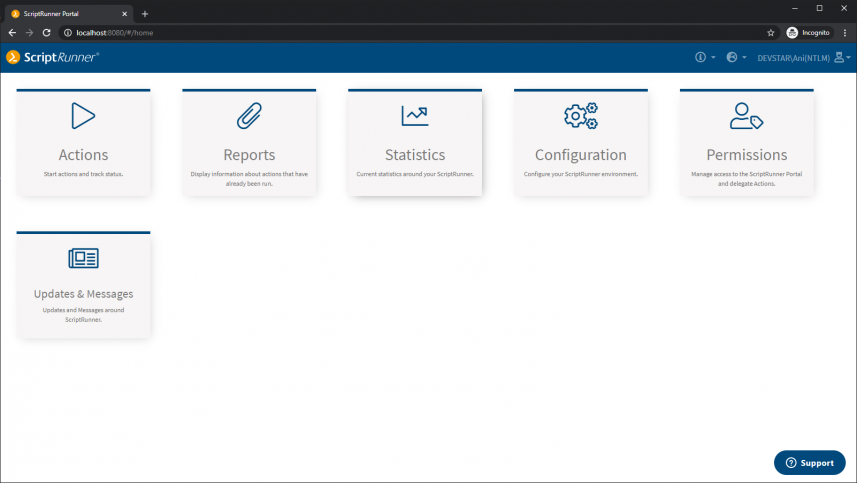 Screenshot of the ScriptRunner Portal entry page in Admin View.