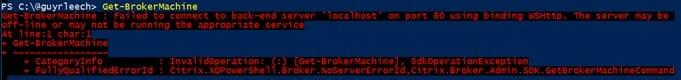Screenshot: PowerShell output from running Get-BrokerMachine