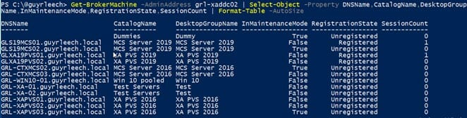 Screenshot: PowerShell output from running Get-BrokerMachine, showing selected object properties