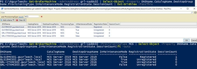 Screenshot: PowerShell output from running Get-BrokerMachine in grid view