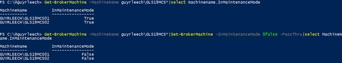 Screenshot: PowerShell command for configuring machines in CVAD