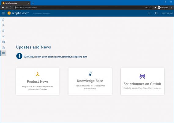 Screenshot: Einstiegsseite des Updates & Messages-Modul