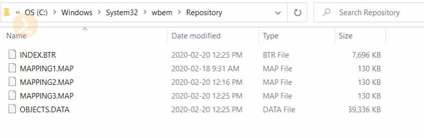 "Screenshot of Windows explorer, showing the location of WMI at ""C:WindowsSystem32wbemRepository"""