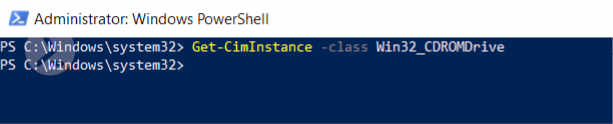 Screenshot of the PowerShell ISE displaying the (empty) output of the cmdlet