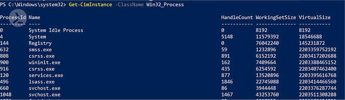 Screenshot of the PowerShell ISE displaying the output of the cmdlet