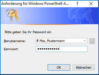 Figure 1: Fig. 1: Dialog box for entering username and password, based on a PSCredential object