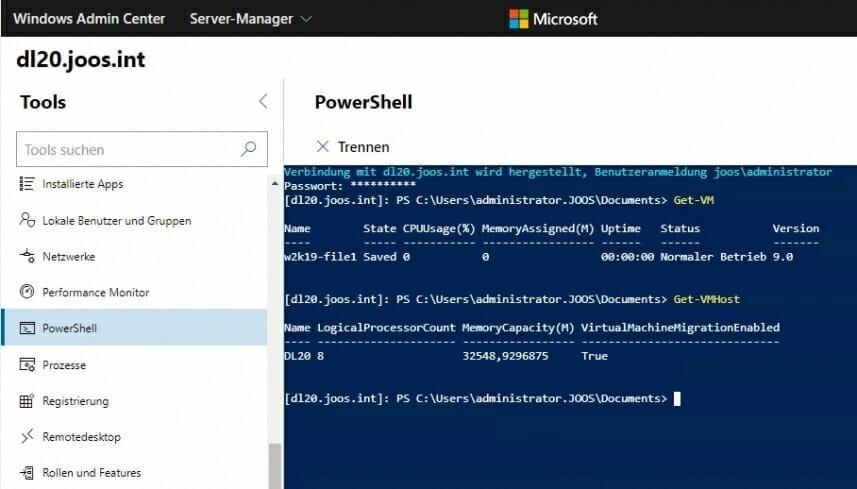 """Screenshot des Windows Admin Centers. der Tab """"Virtuelle Computer"""" ist geöffnet"""