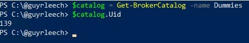 Screenshot: PowerShell console displaying the simplified command for retrieving the UID of a catalog