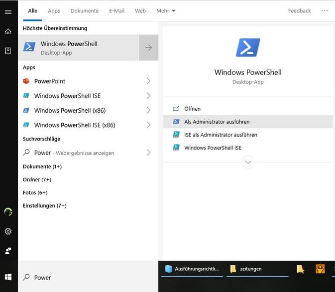 Screenshot: Start menu in Windows 10, context menu of the PowerShell application. The item 'Run as administrator' is highlighted