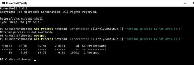 Screenshot: Output of the PowerShell pipeline