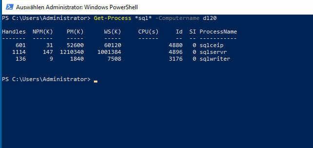 """Screenshot PowerShell: Abbildung 1: Output des Cmdlets """"Get-Process"""" mit dem Filter *sql*"""