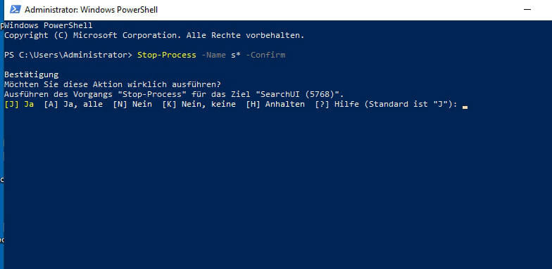 Screenshot PowerShell: Termination of a process after confirmation