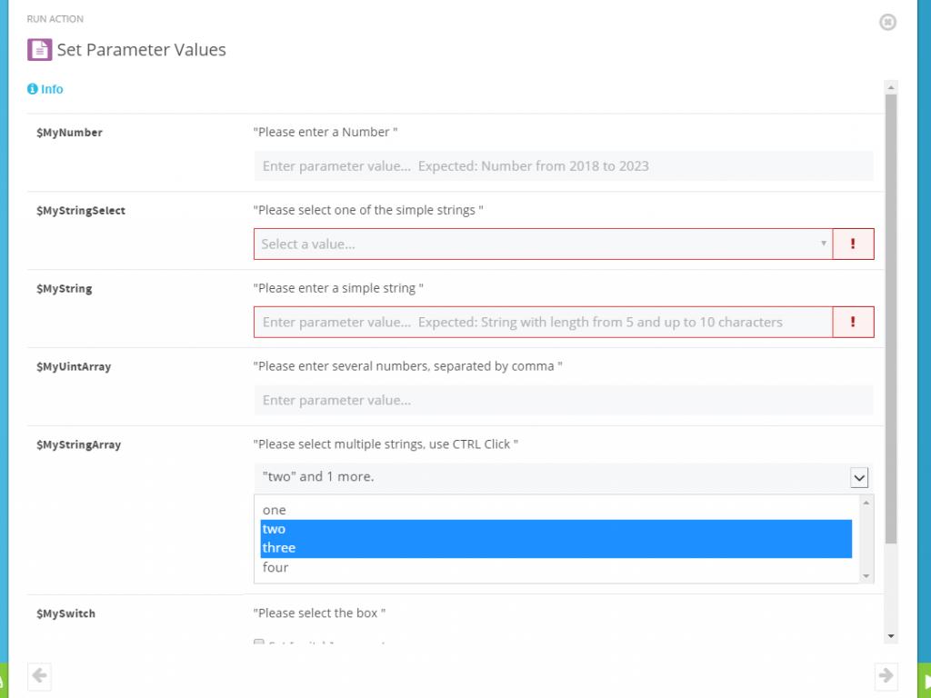 Screenshot: Set parameter values in the ScriptRunner Admin App