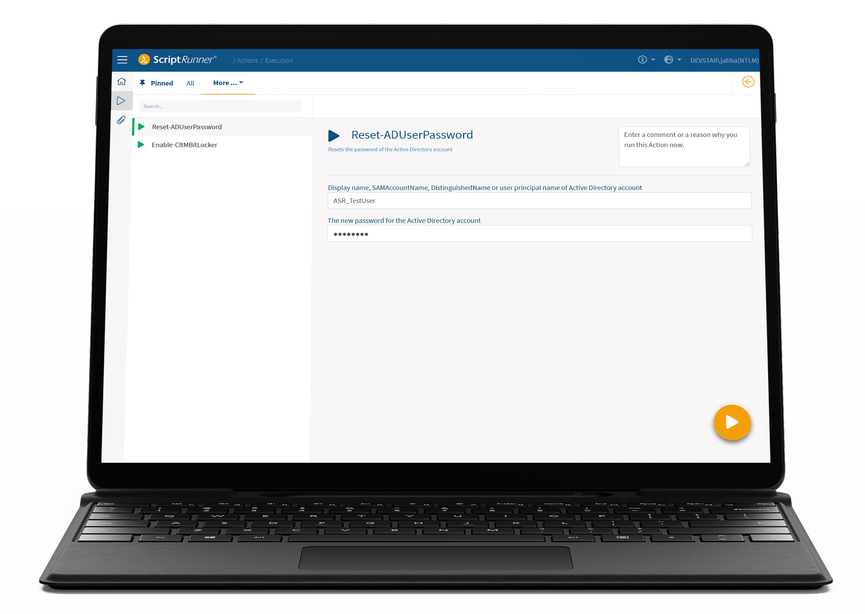 Screenshot: Input form of an action for resetting a user password in ScriptRunner Portal