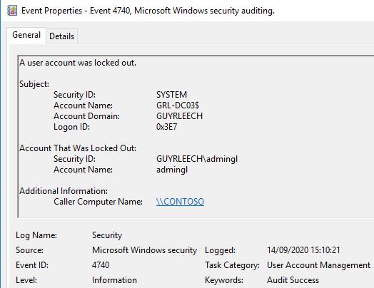 Screenshot der Windows-Ereigniseigenschaften