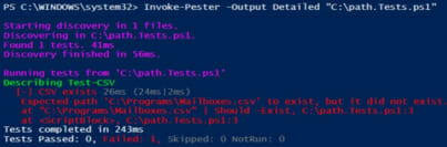 PowerShell output depicting that the path test was unsuccessful